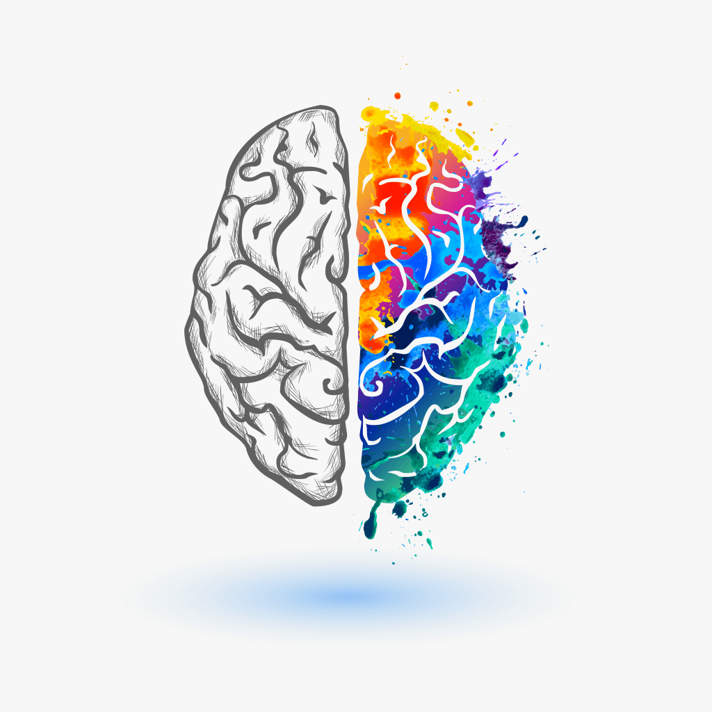 Illustration eines bunten Gehirns, welches für das Priming im Online Marketing steht.