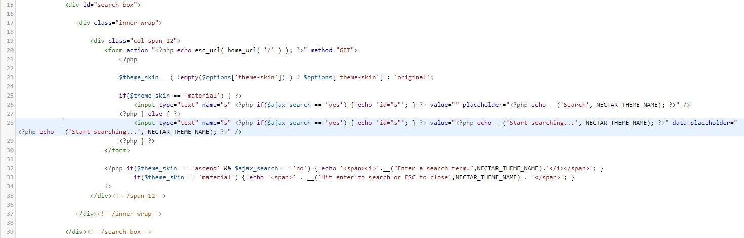 Codezeile als Beispiel für die manuelle Übersetzung eines Parent-Themes