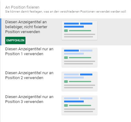Googles RSA Empfehlung für Pinn-Funktion