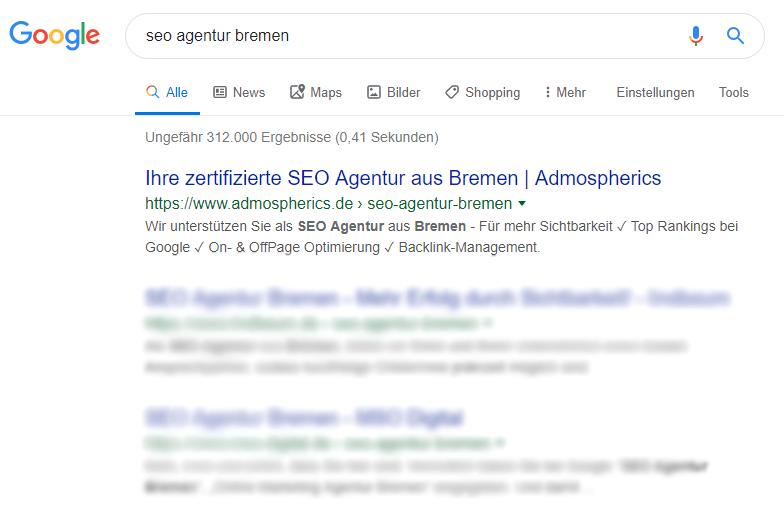 Top SEO Platzierungen von Admopsherics aus Bremen