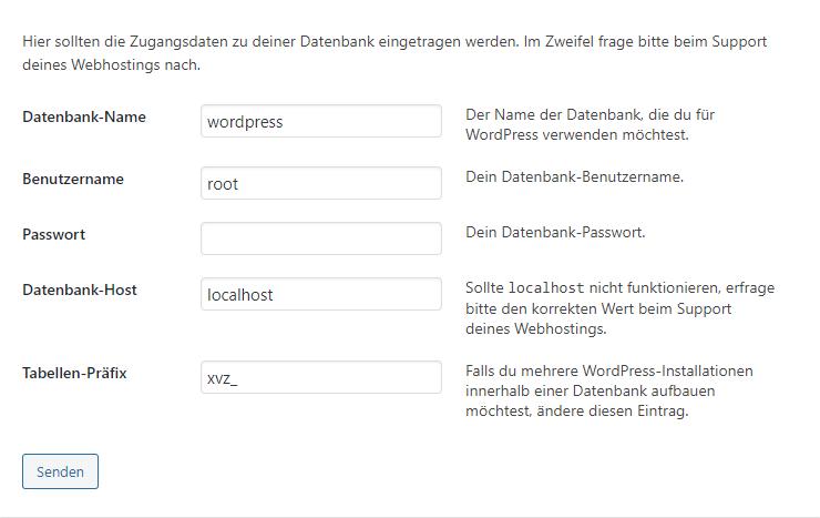 WordPress Installation - Benutzer festlegen