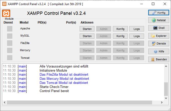 Das XAMPP Control Panel c3.2.4
