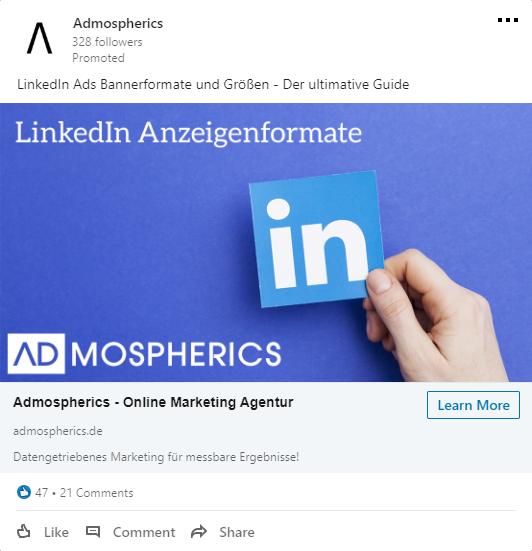 Beispielhafte Bildanzeige für LinkedIn Ads
